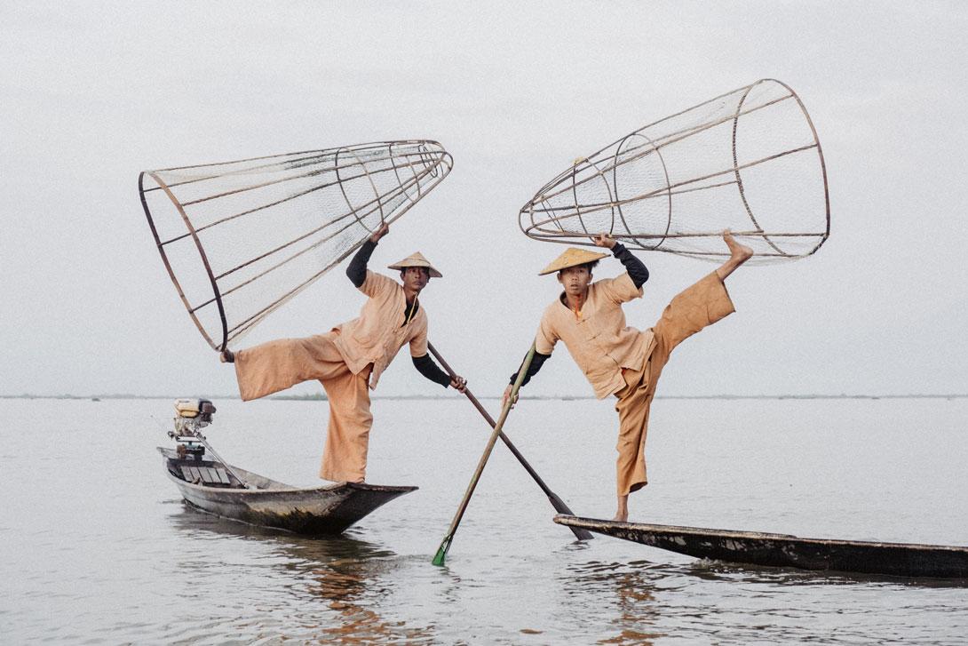Ukázka umění rybářů na Inle Lake